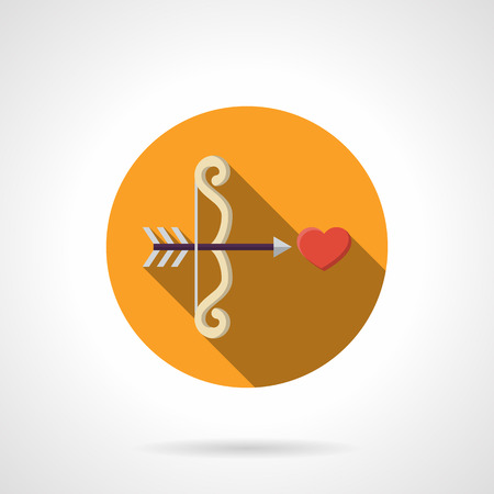 love at first sight: White Cupid bow and arrow  shot a red heart. Love at first sight. Love symbol. Yellow round vector icon, long shadow. Element for web design, business, mobile app.