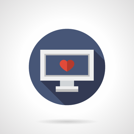 Blind Date: Laptop with single red heart on display. Blind date. Distance relationship. Blue round vector icon, long shadow. Element for web design, business, mobile app.