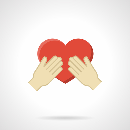 cherish: Hands holding red heart. Cherish a love symbol. Concept of charity, health, voluntary. Flat color style single vector icon. Web design element for site, mobile and business.