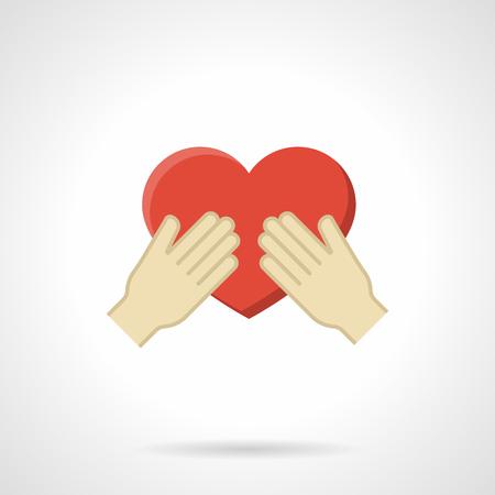 curare teneramente: Mani che tengono cuore rosso. Custodire un simbolo di amore. Concetto di carità, salute, volontariato. colore piatto icona di stile singolo vettore. elemento di design web per il sito, mobili e business.