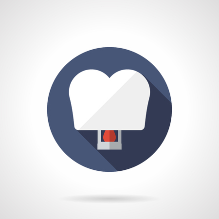 sky lantern: White heart shaped paper sky lantern. Romantic decoration. Love wishes. Blue round vector icon, long shadow. Element for web design, business, mobile app.