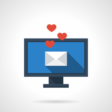 long distance: Receiving and sending love emails for valentines day, anniversary, date. Distance relationship. Flat color style single vector icon. Web design element for site, mobile and business. Illustration