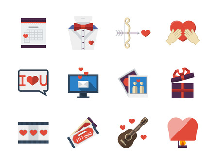 dating icons: Love story and romantic gifts. Distance love and dating. Collection of flat colorful vector icons. Web design elements for business, site, mobile app.