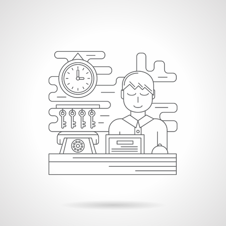 concierge: Smiling concierge on reception with computer and room keys. Booking symbol. Travelling theme. Single detailed flat line style vector icon. Web design elements for business, site, mobile app.