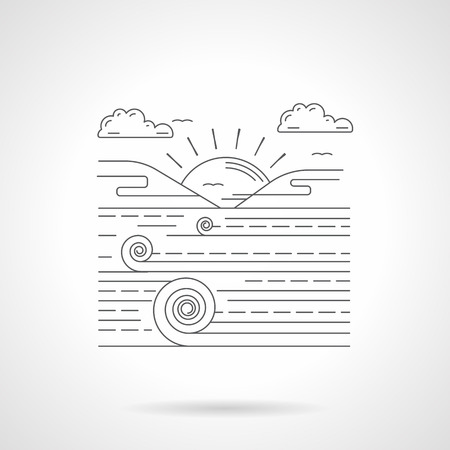 rural scene: Field scene landscape with sunrise. Agriculture. Rural farm. Single detailed flat line style vector icon. Web design elements for business, site, mobile app.