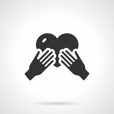 curare teneramente: Mani in possesso di un cuore. Simbolo di amore materno. Custodire concetto di famiglia. Piatto icona di stile singolo vettore nero. Elemento per il web design, affari, mobile app. Vettoriali