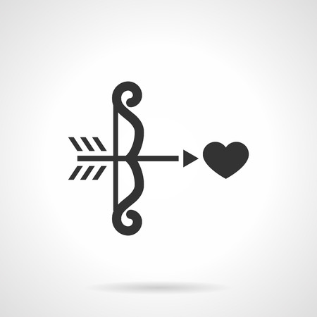 amor: Curved Cupid bow with arrow aiming heart. Amor arrows. Love symbol. Wedding. Flat black style single vector icon. Element for web design, business, mobile app.