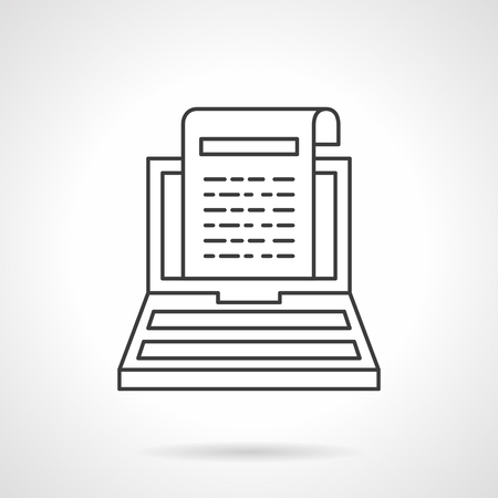 article: Laptop with web article or newsletter sign on monitor. Digital marketing. Flat line style single vector icon. Element for web design, business, mobile app. Illustration