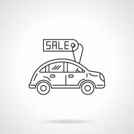 car for sale: Car with sale label. Sale of new and used automobiles. Business concept. Flat line style single vector icon. Element for web design, business, mobile app. Illustration