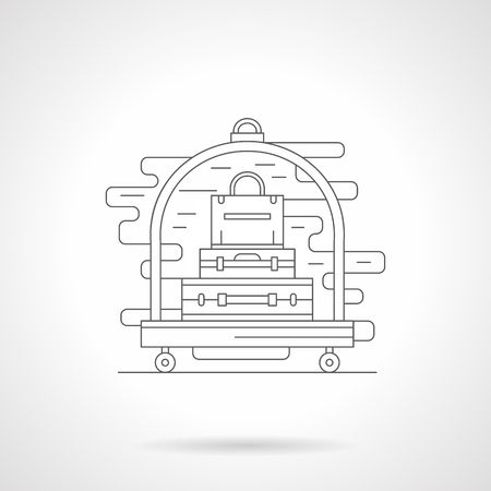 trolley case: Baggage cart or trolley. Hotel services. Tourism and travel. Single detailed flat line style vector icon. Web design elements for business, site, mobile app. Illustration