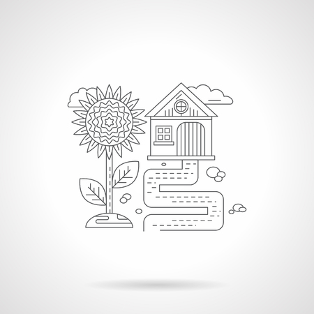 rural scene: Rural scene. Village house with path and sunflower. Farming and agriculture theme. Single detailed flat line style vector icon. Web design elements for business, site, mobile app.