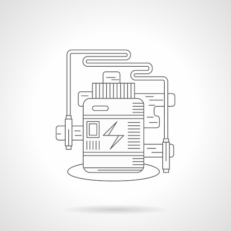 supplement: Sport supplement jar and skipping rope. Fitness and dieting theme. Single detailed flat line style vector icon. Web design elements for business, site, mobile app.