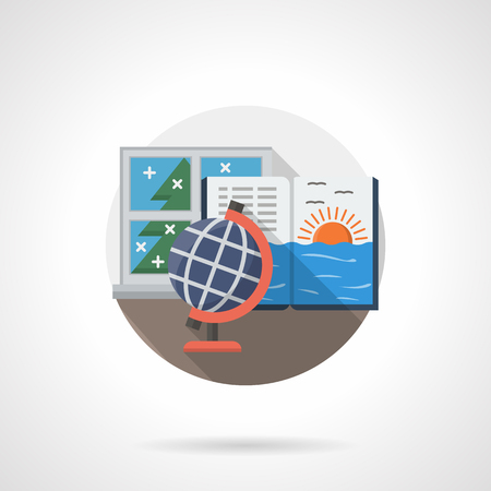school table: Lessons of natural study at school. Globe, open book with sea sunset. School table near a window. Single detailed flat color style vector icon. Web design elements for business, site, mobile app.