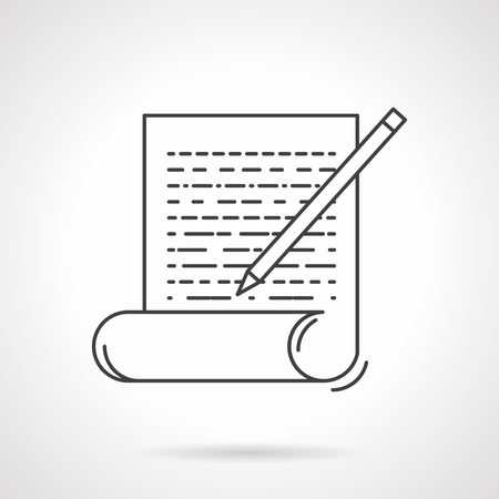 articles: Writing articles sign. Paper with pen.