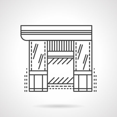 vitrine: Facades of commercial buildings. Hardware store. Storefronts and showcases. Vector icon flat thin line style. Element for web design, business, mobile app.