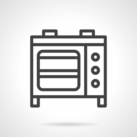 black appliances: Household and commercial appliances. Microwave oven a front view. Stoves. Vector icon simple black line style. Single design element for website, business.