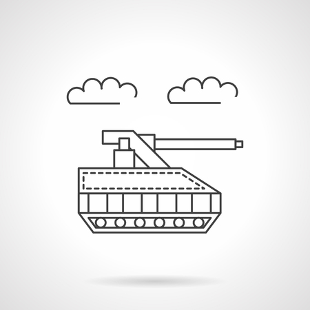 unmanned: Military unmanned tank. Robotic land vehicle. Radio controlled toy. Vector icon flat thin line style. Element for web design, business, mobile app. Illustration