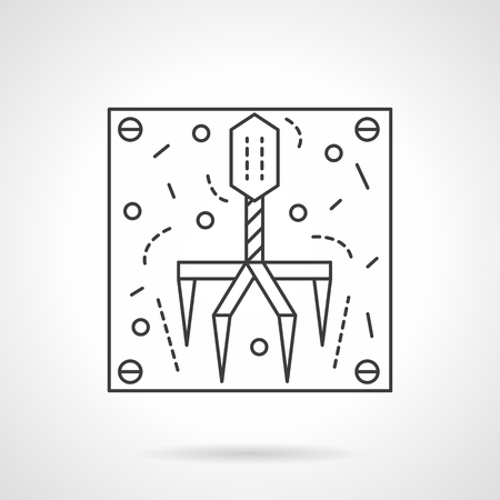 Virus bacteriophage. Microbiology and virology objects. Education and science research. Flat line style single vector icon. Element for web design, business, mobile app.