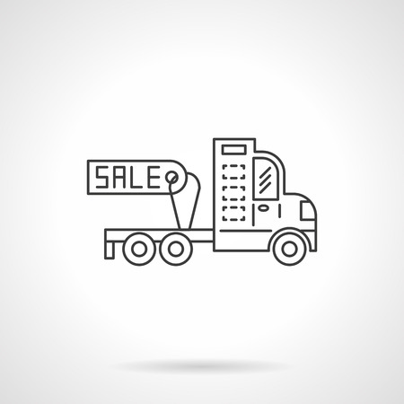 car for sale: Tractor units and semi trucks for sale. Truck without trailer with sale tag. Car business. Flat line style single vector icon. Element for web design, business, mobile app. Illustration