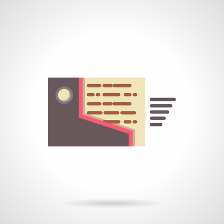 moving site: Brown folder with moving mail. Mailbox sign. Digital marketing, business and management. Flat color style single vector icon. Web design element for site, mobile and business. Illustration