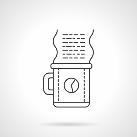 text sample: Coffee time on the work. Cup with clock and abstract steam with text sample. Freelance, design, project create. Coffee break. Flat line vector icon. Element for web design, business, mobile app. Illustration