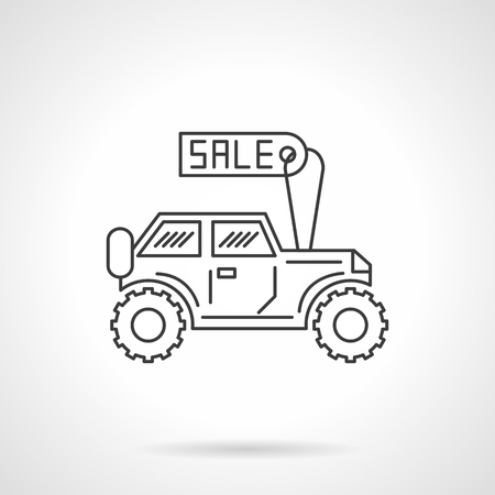 car for sale: Automobile with price tag. Car for sale. SUV. Automobile business. Sale of new and used cars. Flat line style single vector icon. Element for web design, business, mobile app.