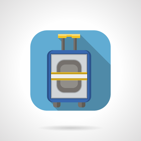luggage bag: Blue button for baggage or luggage. Bag with handle and wheels. Travel and tourism. Flat color rounded corners style vector icon. Web design element for site, mobile and business.travel luggage icon