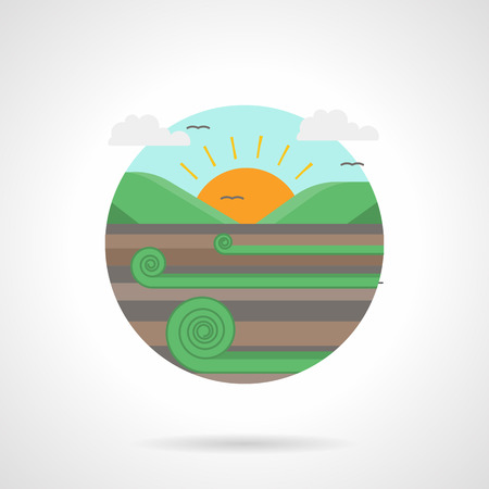rural scene: Landscape with meadow or field and sun. Sunrise. Rural scene. Farming and agriculture. Single detailed flat color style vector icon. Web design elements for business, site, mobile app. Illustration