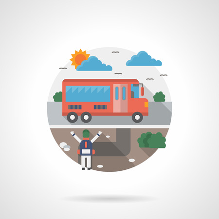 suburb: Schoolboy waiting for the red school bus. Suburb scene. Single detailed flat color style vector icon. Web design elements for business, site, mobile app.