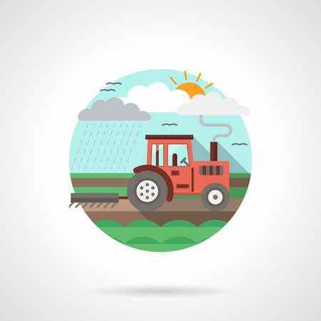 agricultural equipment: Landscape with tractor plowing a field. Planting. Farming and agriculture equipment. Rural scene. Single detailed flat color style vector icon. Web design elements for business, site, mobile app.