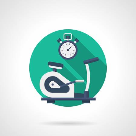 trainer device: A side view exercise bike and stopwatch. Fitness equipment. Sport and healthy lifestyle. Single detailed flat color style vector icon. Web design elements for business, site, mobile app. Illustration