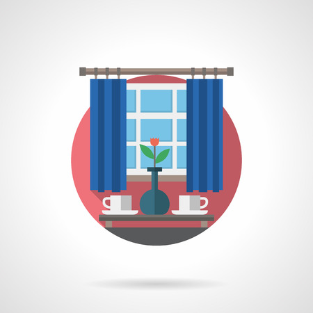Dining table with two white cups and vase with flower in front of the window with blue curtains. Morning coffee or tea. Detailed flat color vector icon. Web design elements for site, mobile app.