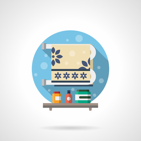 toalla: radiador toallero con una toalla adornada y estante con cosméticos para el cuidado corporal. Accesorios de baño y objetos. Solo color plana icono detallado del vector. elementos de diseño web para el negocio, sitio, aplicación móvil.
