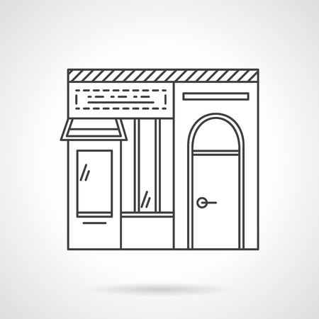 storefronts: Facade of dairy store. Commerce buildings. Storefronts and showcases. Vector icon flat thin line style. Element for web design, business, mobile app. Illustration
