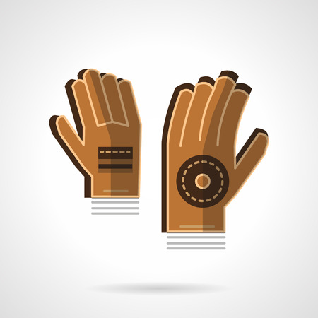 protective gloves: Brown goalkeepers gloves. Sport accessories. Protective gloves. Vector icon flat color style. Web design element for site, mobile and business. Illustration