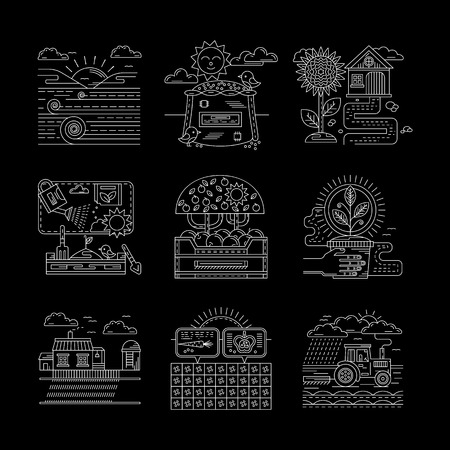 seeding: Rural scenes. Field, growing and planting. Farming and agriculture concept. Detailed flat line style vector icons collection on black. Web design elements for business, site, mobile app.