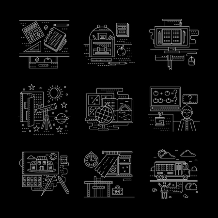 school life: School life moments. School lessons, bus. Education theme. Detailed flat line style vector icons collection on black. Web design elements for business, site, mobile app. Illustration