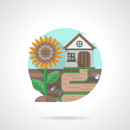 rural scene: Rural scene with village house and sunflower. Agriculture and farming. Single detailed flat color style vector icon. Web design elements for business, site, mobile app.