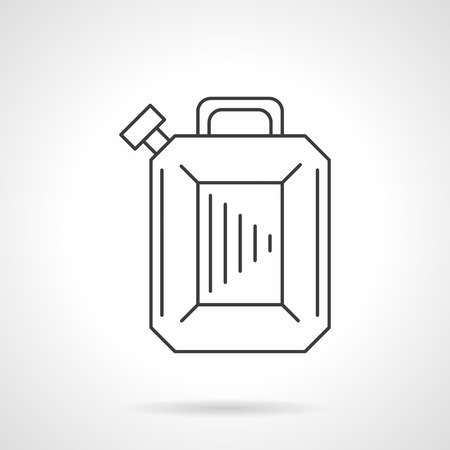jerry: Fuel container jerry can, petrol canister. Oil industry. Gas station. Flat line style single vector icon. Element for web design, business, mobile app.