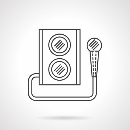 party system: Audio speaker subwoofer music system. Microphone and subwoofer. Party and events equipment. Flat line style single vector icon. Element for web design, business, mobile app. Illustration