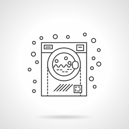 clean water: Washing machine and bubbles. Bathroom interior element and equipment. Flat line style single vector icon. Element for web design, business, mobile app.