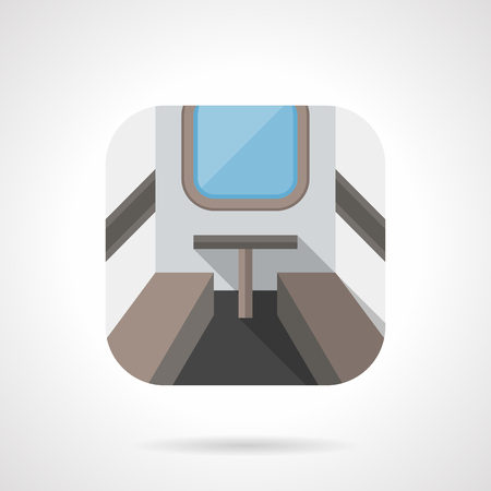 passenger compartment: Empty compartment on a train modern interior. Railway travel. Flat color rounded corners style vector icon. Web design element for site, mobile and business.