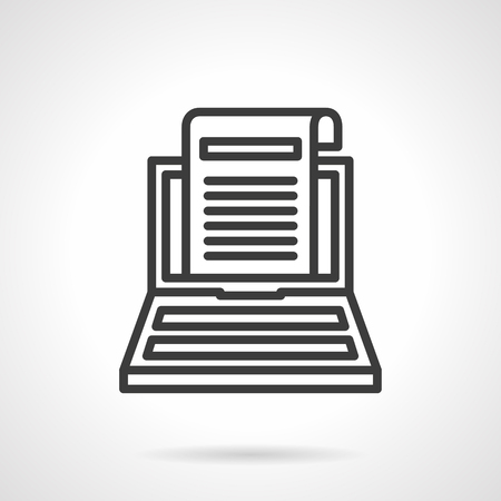 article icon: Sheet of paper with article on laptop monitor. Writing, copywriting and blogging concept. Black line style single vector icon. Element for web design, business, mobile app. Illustration