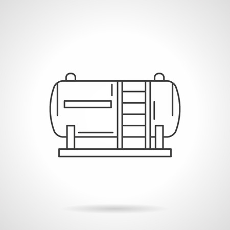 storage tank: Gas station fuel tank. Gas storage tank. Oil industry. Flat line style single vector icon. Element for web design, business, mobile app.