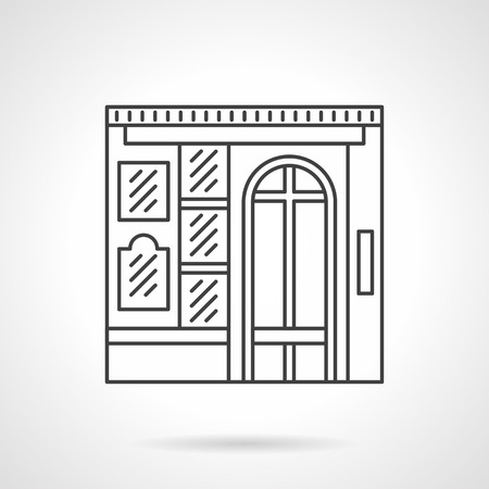 storefronts: Commercial building facade. Photo studio exterior. Storefronts and showcases. icon flat thin line style. Element for web design, business, mobile app.