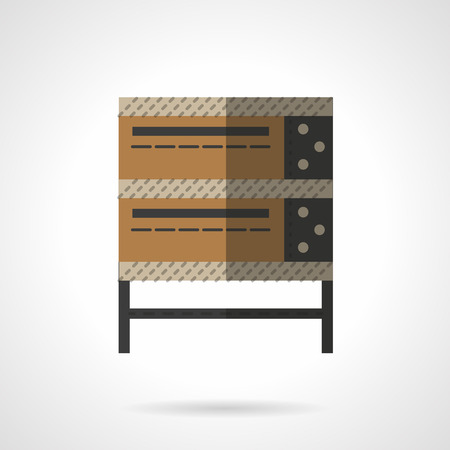 domestic kitchen: Brown bakery oven for domestic kitchen and restaurant. Baking equipment. icon flat color style. Web design element for site, mobile and business.