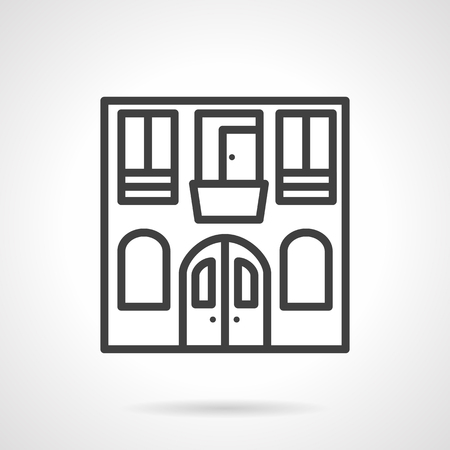 Hostel building facade. Tourism industry. Low cost city hostel. Storefronts. icon simple black line style. Single design element for website, business. Illustration
