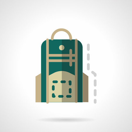 mobile accessories: Green school backpack or knapsack. School accessories. Back to school theme. icon flat color style. Web design element for site, mobile and business.