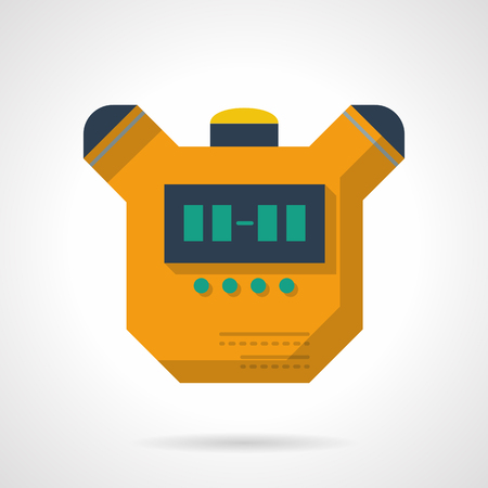digital timer: Yellow stopwatch device. Digital timer with buttons. Equipment and accessory for sport competition, personal results exam. Vector icon flat color. Web design element for site, mobile and business.