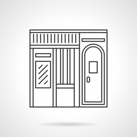 storefronts: Music shop building. Commercial buildings facade. Storefronts and showcases. Vector icon flat thin line style. Element for web design, business, mobile app.